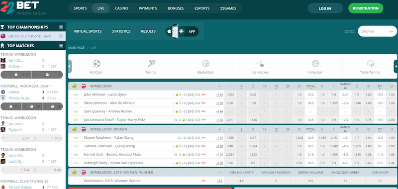 Main Page Overview – 22bet Screenshot