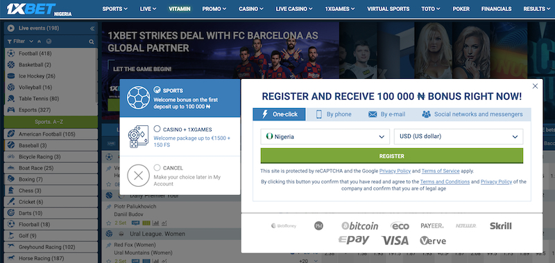 Registration Window Screenshoted – 1xbet.ng
